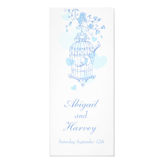 Blue and white bird cage wedding dinner menu 10 cm x 24 cm invitation card