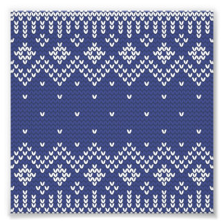Blue and White Christmas Abstract Knitted Pattern Photo