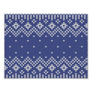 Blue and White Christmas Abstract Knitted Pattern Photo Print