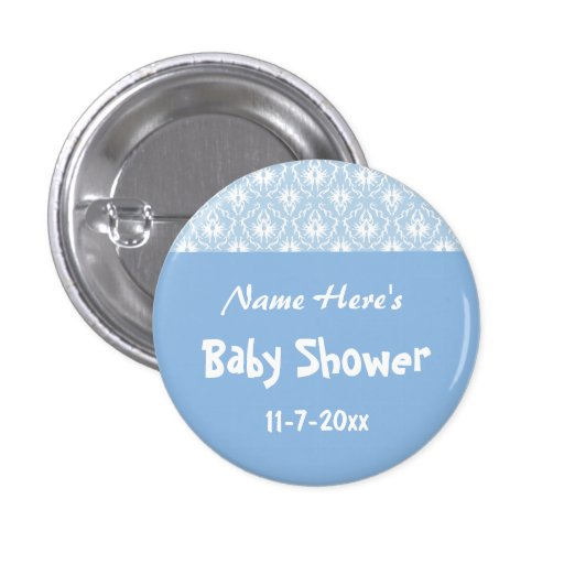 Blue and White Damask Pattern, Custom Baby Shower Pins