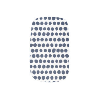 blue and white Finger-painted Polka Dots Nail Sticker