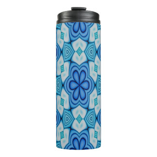 Blue and White Floral Pattern Thermal Tumbler