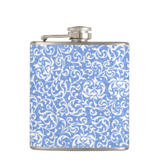 Blue and White Floral Tudor Damask Vintage Style Hip Flask