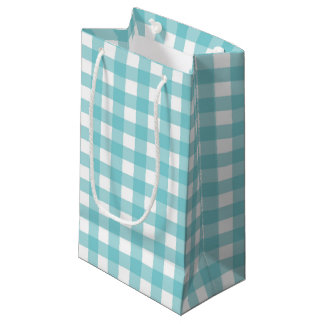 Blue and White Gingham Design Small Gift Bag
