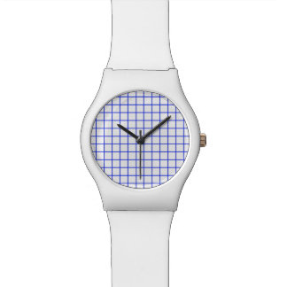 Blue and White Grid Watch