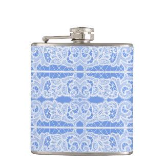 Blue and White Lace Elegant Vintage Victorian Hip Flask