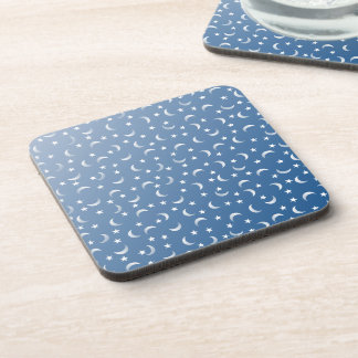 Blue and White Moon and Stars Coaster