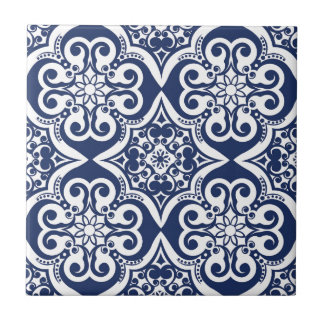 Blue and White Moroccan Pattern Small Square Tile