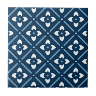 Navy And White Pattern Decorative Ceramic Tiles | Zazzle co nz