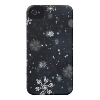 Blue and White Night Sky Snowflakes iPhone 4 Case-Mate Cases