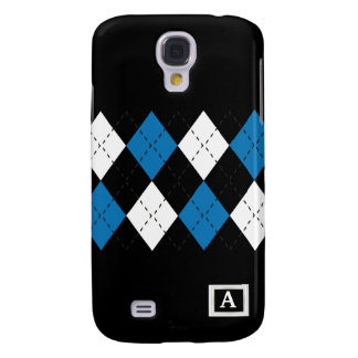 Blue And White On Black Argyle iPhone3 Case