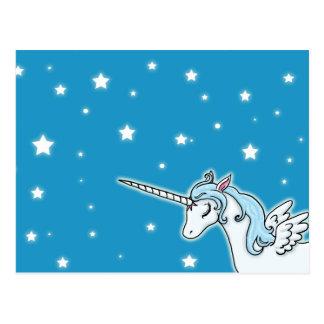 Blue and white Pegasus Unicorn Postcard