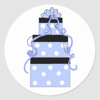 Blue and White Polka Dot Packages Classic Round Sticker