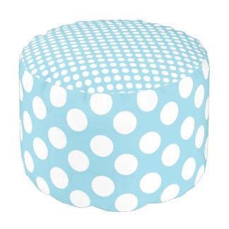 Blue and White Polka Dot Print Pouf