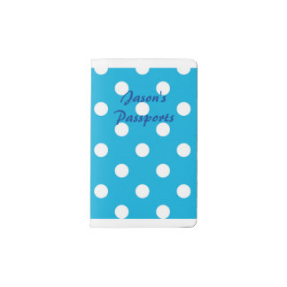 Blue and white polka dots pocket moleskine notebook