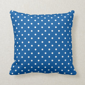 Blue and White Polka Dots Throw Pillow