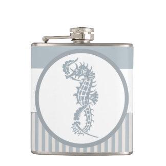 Blue and White Seahorse Logo Design Hip Flask