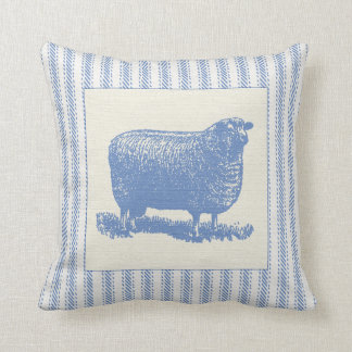 Blue and White Sheep with Ticking Throw Pillow