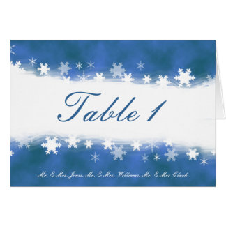 Blue and White Snowflakes Table Card