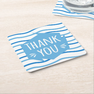 Blue and White Stripes Thank You Wedding Party Square Paper Coaster