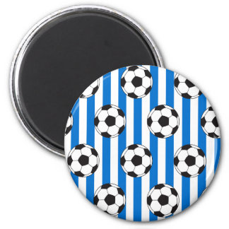Blue and White Stripes with Soccer Balls Magnet