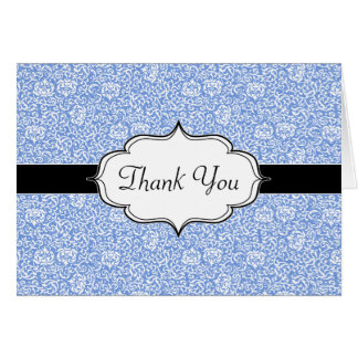 Blue and White Tudor Damask Floral Card