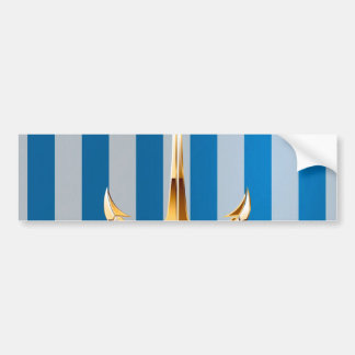Blue and White  Vertical Lines and Gold Anchor Car Bumper Sticker