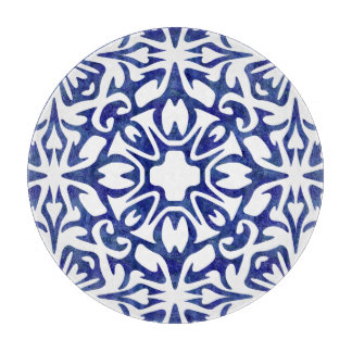 Blue and White Watercolor Spanish Tile Pattern Cutting Board