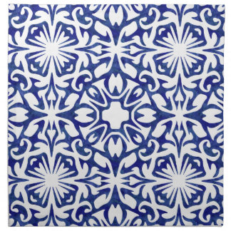 Blue and White Watercolor Spanish Tile Pattern Napkin