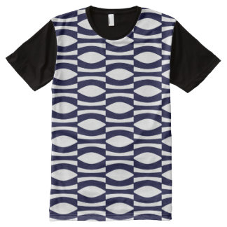 Blue And White Wavy Stripes Retro Pattern All-Over Print T-Shirt