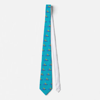 Blue and yellow fishing boat tie ties