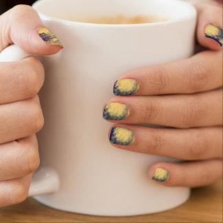 Blue and Yellow Marble Nails Minx Nail Art