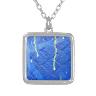 Blue and yellow modern style design. square pendant necklace