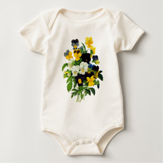 Blue and Yellow Pansies by Pierre Joseph Redoute Baby Bodysuit