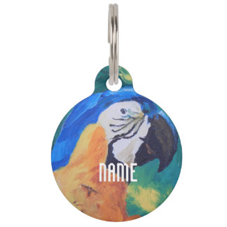 Blue and Yellow Parrot Pet Name Tags