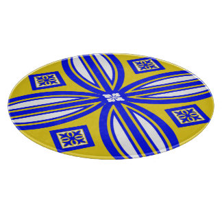 Blue And Yellow Spanish Tile Design Cutting Board