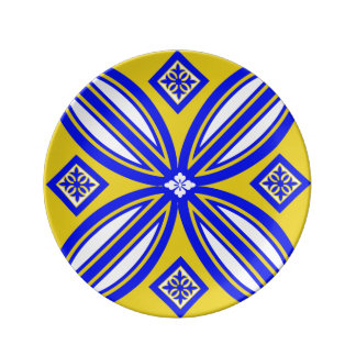 Blue And Yellow Spanish Tile Design Porcelain Plate