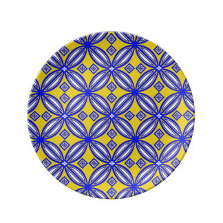 Blue And Yellow Spanish Tile Pattern Design Plate