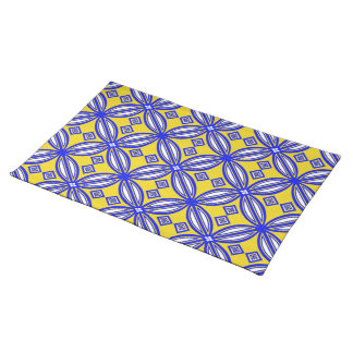 Blue And Yellow Spanish Tile Pattern Placemat