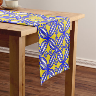 Blue And Yellow Spanish Tile Pattern  Table Runner
