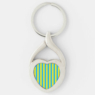 Blue and Yellow Vertical Stripes Key Ring
