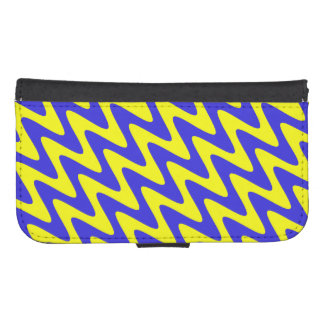 Blue and Yellow Wavy Zigzag Samsung S4 Wallet Case