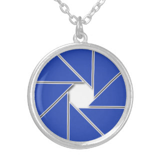 Blue Aperture Blades Silver Plated Necklace