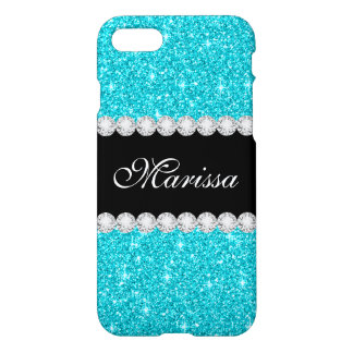 Blue Aqua Glitter Black Zazzle iPhone 7 Case