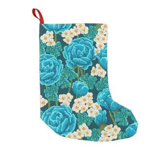 Blue aqua rose floral hand painted pattern small christmas stocking