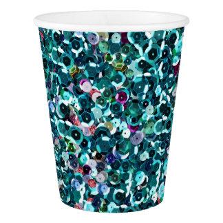 Blue Aqua Turquoise Sequin Sparkles All Over Print