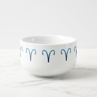Blue Aries Zodiac Signs On White Soup Mug