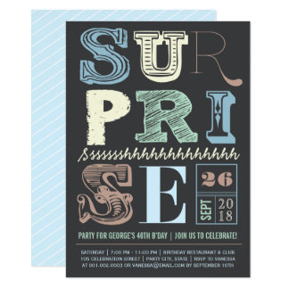 Blue Art Deco Surprise Party Adult Birthday Invite