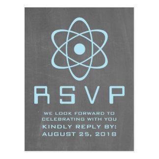 Blue Atomic Chalkboard RSVP Postcard