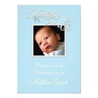 Blue Baby Boy Photo Christening Card